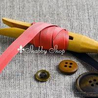 Лента American Crafts двусторонняя в ромбики, голубо-кирпичная, ширина 9,5мм, 90 см
