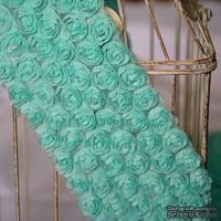 Лента из маленьких розочек, цвет мятный, 6 рядов цветов, длина 30 см