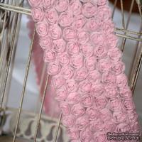 Лента из маленьких розочек, цвет розовый, 6 рядов цветов, длина 30 см