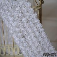 Лента из маленьких розочек, цвет белый, 6 рядов цветов, длина 30 см