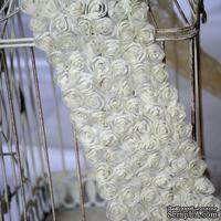 Лента из маленьких розочек, цвет молочный, 6 рядов цветов, длина 30 см