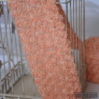 Лента из маленьких розочек, цвет персиковый, 6 рядов цветов, длина 30 см