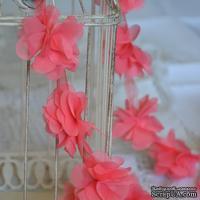 Лента с цветами из шифона, цвет кораллово-розовый, 6 цветков