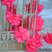 Лента с цветами из шифона, цвет ярко-розовый, 6 цветков