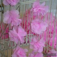 Лента с цветами из шифона, цвет розовый, 6 цветков