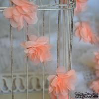 Лента с цветами из шифона, цвет персиковый, 6 цветков