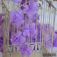 Лента с цветами из шифона, цвет светло-фиолетовый, 6 цветков