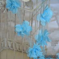 Лента с цветами из шифона, цвет голубой, 6 цветков