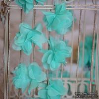 Лента с цветами из шифона, цвет мятный, 6 цветков