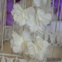 Лента с цветами из шифона, цвет молочный, 6 цветков