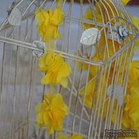 Лента с цветами из шифона, цвет желтый, 6 цветков