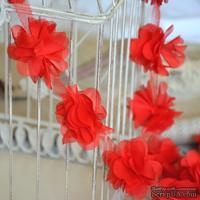 Лента с цветами из шифона, цвет красный, 6 цветков