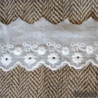 Кружево шитье, цвет белый натуральный, 100% хлопок, ширина 5 см, длина 45 см