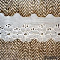 Кружево шитье, цвет белый натуральный, 100% хлопок, ширина 4 см, длина 45 см