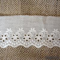 Кружево шитье, цвет белый натуральный, 100% хлопок, ширина 7 см, длина 45 см