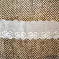 Кружево шитье, цвет белый натуральный, 100% хлопок, ширина 3.5 см, длина 45 см