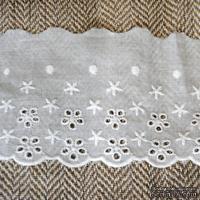 Кружево шитье, цвет белый натуральный, 100% хлопок, ширина 8 см, длина 45 см