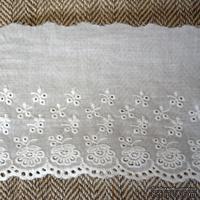 Кружево шитье, цвет белый натуральный, 100% хлопок, ширина 11.5 см, длина 45 см