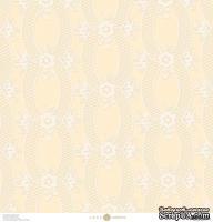Лист скрапбумаги с бархатным напылением от Anna Griffin Paper - Eleanor Flocked Cream, 30 x 30