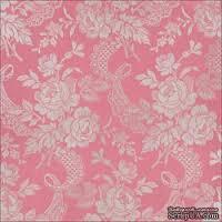 Лист скрапбумаги с фольгой от Anna Griffin Paper - Camilla Foil Floral Pink, 30 x 30