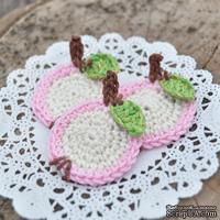 Набор вязаных яблочек ручной работы, цвет розовый, диаметр 3-3,5см, 3 шт.