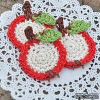 Набор вязаных яблочек ручной работы, цвет красный, диаметр 3-3,5см, 3 шт.