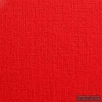 Дизайнерский картон с фактурой льна Sirio tela lampone, 30х30, красный, 290 г/м2