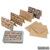 Набор винтажных открыток и конвертов Tim Holtz District Market - Notecard Set - Metropolitan, 24 штуки