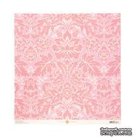 Лист односторонней скрапбумаги c тиснением от Anna Griffin Paper - Olivia Embosed Acanthus Pink, 30 x 30