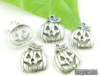 "Металлическое украшение ""Хэллоуин"", серебро, размер 18х16 мм, 1 шт."