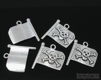 """Металлическое украшение """"Пиратский флаг"""", серебро, размер 20х17 мм, 1 шт."""