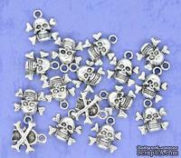 "Металлическое украшение ""Хэллоуин"", серебро, размер 14,5х13 мм, 1 шт."