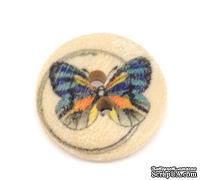 Деревянная пуговица Multicolor Butterfly B10596, диаметр 15мм, 1 шт.