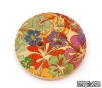 Деревянная пуговица Multicolor Flower  B10663, диаметр 23 мм, 1 шт.