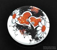 Деревянная пуговица Multicolor Flower &Heart B11055, диаметр 30 мм, 20 штук