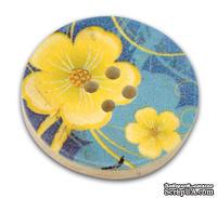Деревянная пуговица Flower B12426, диаметр 30 мм, 1 шт.