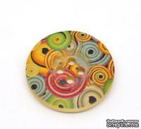 Деревянная пуговица Multicolor B12738, диаметр 25 мм, 1 шт.