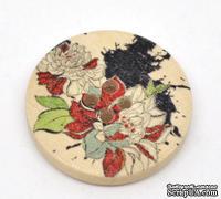 Деревянная пуговица Multicolor Flower B12739, диаметр 30 мм, 1 шт.