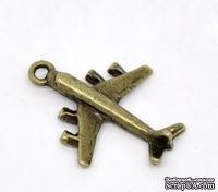 """Металлическое украшение/подвеска """"Самолет"""",  29x23мм, античная бронза, 1 шт."""