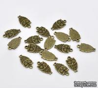"""Металлическое украшение """"Сова"""", античная бронза, размер 18х9 мм, 1 шт."""