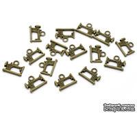"""Металлическое украшение """"Швейная машинка"""", античная бронза, размер 19х15 мм, 1 шт."""