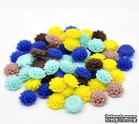 "Набор кабошон ""Цветочки"", цвет: микс, размер 16х8 мм, 10 шт."