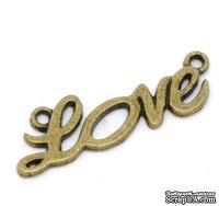 """Металлическое украшение/подвеска  """"love"""", 33x10мм, античная бронза, 1 шт."""
