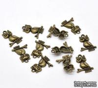 """Металлическое украшение """"Сова"""", античная бронза, размер 24х18 мм, 1 шт."""