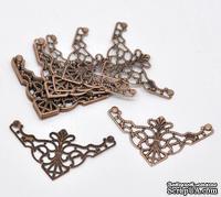 Фигурные уголки, медь, размер 4,8х2,6 мм, 2 шт.
