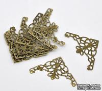 Фигурные уголки, бронза, размер 4,8х2,6 мм, 2 шт.
