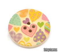 Деревянная пуговица Multicolor Heart B14006, диаметр 30 мм, 1 шт.