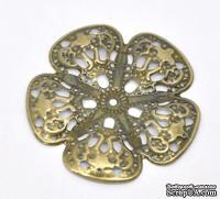 """Металлическое украшение """"Цветок"""", 48мм x 48мм, античная бронза, 1 шт."""
