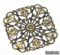 Металлическое украшение 5см x 5см ажурные, античная бронза, 1 шт.