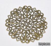 """Металлическое украшение """"Цветок"""", 5.2см, античная бронза, 1 шт."""